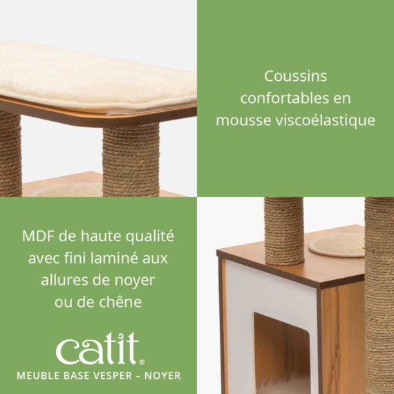 Meuble Base Vesper Catit - Coussins confortables en mousse viscoélastique et MDF de haute qualité avec fini laminé aux allures de noyer ou de chêne