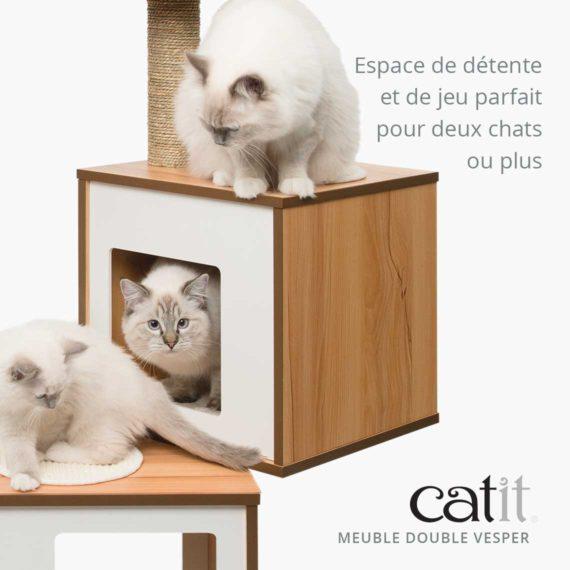 Meuble Double Vesper Catit - Espace de détente et de jeu parfait pour deux chats ou plus
