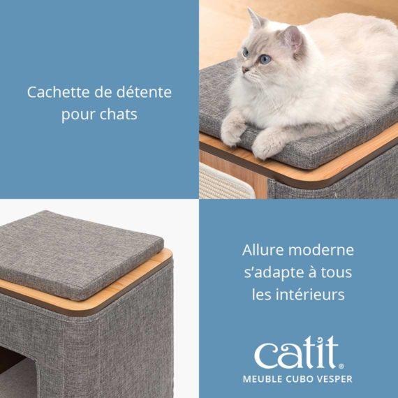 Meuble Cubo Vesper Catit – Cachette de détente pour chats. Allure modern s'adapte à tous les intérieurs