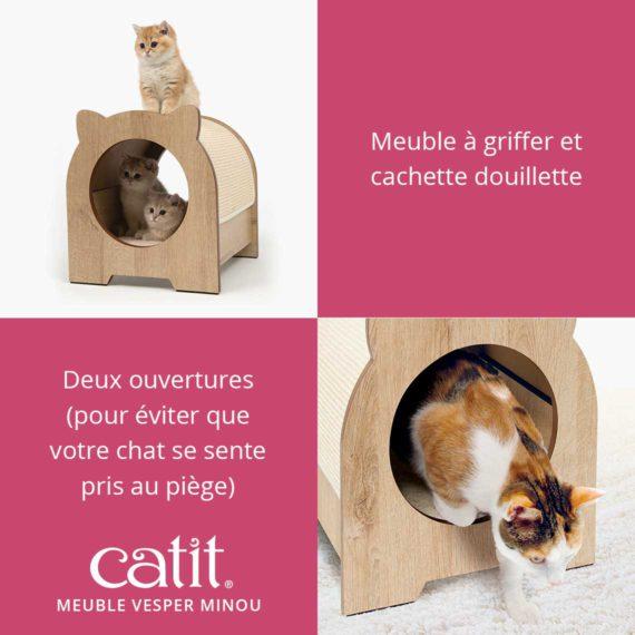 Meuble Vesper Minou Catit – Meuble à griffer et cachette douillette. Deux ouvertures (pour éviter que votre chat se sente pris au piège)