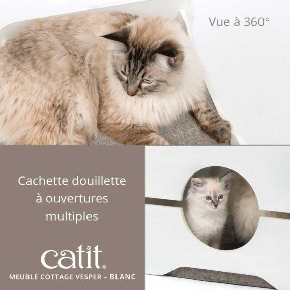 Meuble Cottage Vesper Catit Blanc – Vue à 360°. Cachette douillette à ouvertures multiples