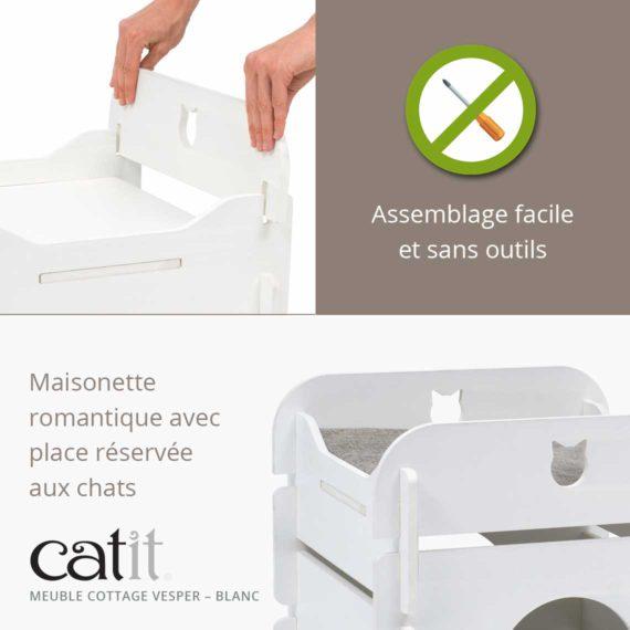 Meuble Cottage Vesper Catit Blanc – Assemblage facile et sans outils. Maisonette romantique avec place réservée aux chats