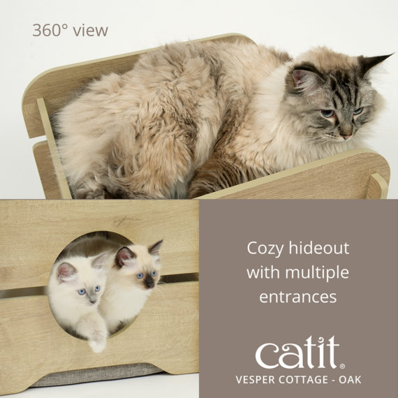 Catit Vesper Cottage Oak has a 360° view and is a cozy hideout with multiple entrances