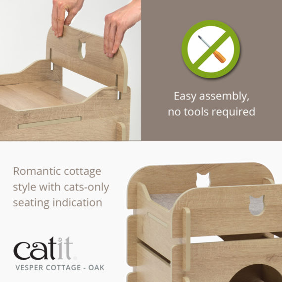 Catit Vesper Cottage Oak is easy to assemble, no tools required and has a romantic cottage style with cats-only seating indication