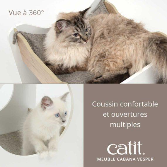 Meuble Cabana Vesper Catit – Vue à 360°. Coussin confortable et ouvertures multiples