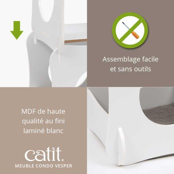 Meuble Condo Vesper Catit – Assemblage facile et sans outils. MDF de haute qualité au fini laminé blanc