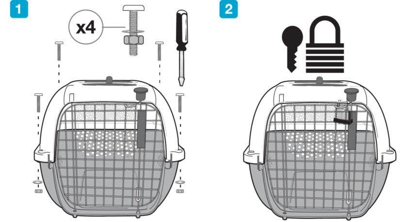 Installer la cage de transport Catit pour chats lors des déplacements en avion ou en transports en commun