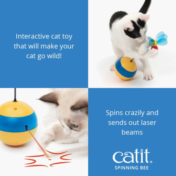 Catit Spinning Bee is an interactive cat toy that will make your cat go wild! It spins crazily and sends out laser beams