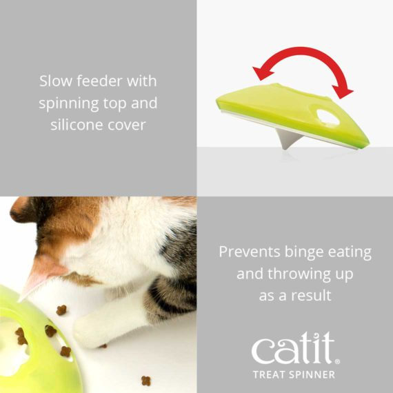 Catit Treat Spinner is a slow feeder with spinning top and silicone cover which prevents binge eating and throwing up as a result