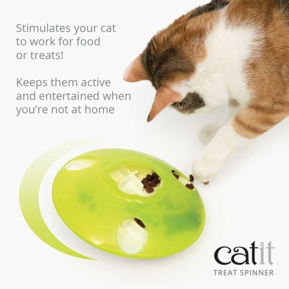 Catit Treat Spinner stimulates your cat to work for food or treats! Keeps them active and entertained when you're not at home