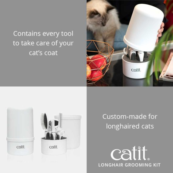 Catit Longhair Grooming Kit contains every tool to take care of your cat's coat and is custom-made for longhaired cats