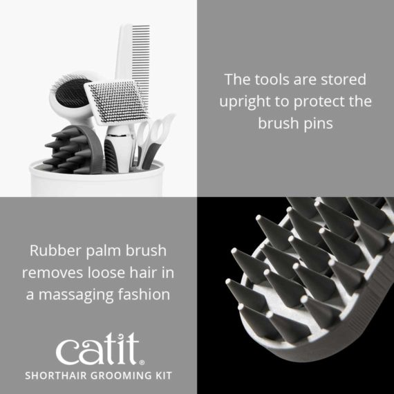 Catit Shorthair Grooming kit's tools are stored upright to protect the brush pins and the rubber palm brush removes loose hair in a massaging fashion