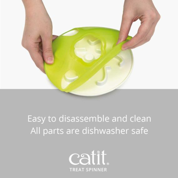 Catit Treat Spinner is easy to disassemble and clean. All parts are dishwasher safe
