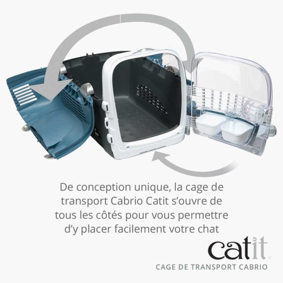 Cage de transport Cabrio Catit – De conception unique, la cage s'ouvre de tous les côtés pour vous permettre d'y placer facilement votre chat