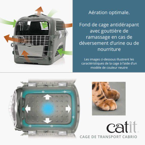 Cage de transport Cabrio Catit – Aération optimale. Fond de cage antidérapant avec gouttière de ramassage en cas de déversement d'urine ou de nourriture