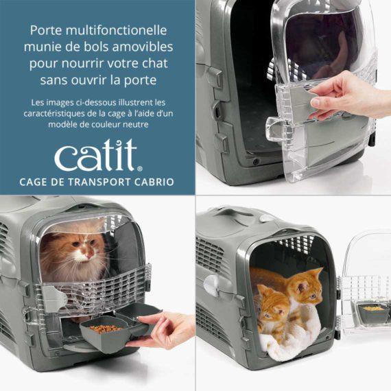 Cage de transport Cabrio Catit – Porte multifonctionelle munie de bols amovibles pour nourrir votre chat sans ouvrir la porte