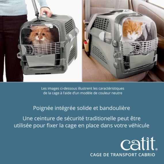 Cage de transport Cabrio Catit – Poingée intégrée solide et bandoulière. Une ceinture de sécurité traditionelle peut être utilisée pour fixer la cage en place dans votre véhicule