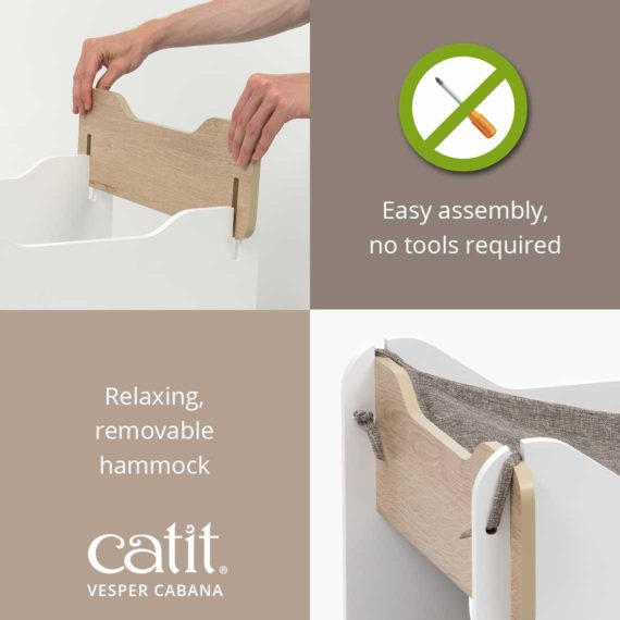 Catit Vesper Cabana is easy to assemble, no tools required. It has a relaxing, removable hammock