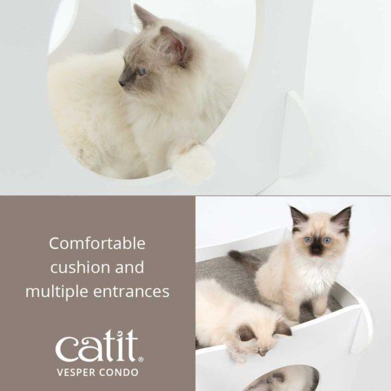 Catit Vesper Condo has a comfortable cushion and multiple entrances