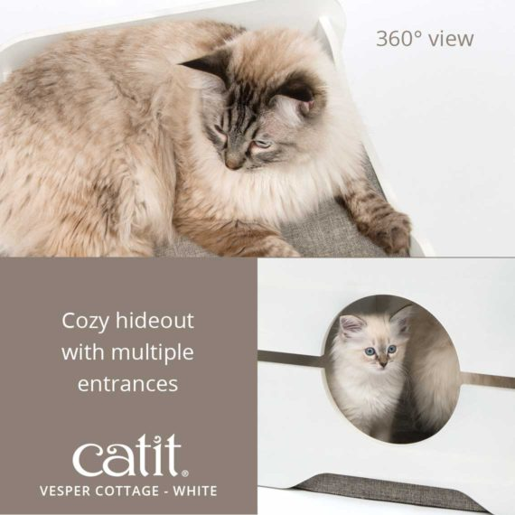 Catit Vesper Cottage White has a 360° view and is a cozy hideout with multiple entrances