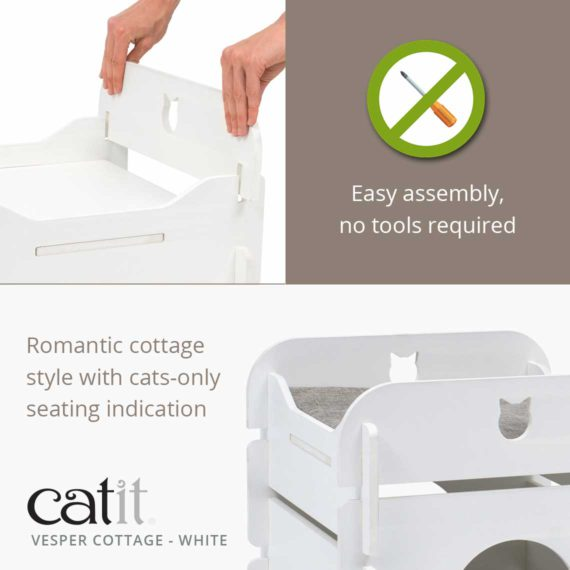 Catit Vesper Cottage White is easy to assemble, no tools required and has a romantic cottage style with cats-only seating indication