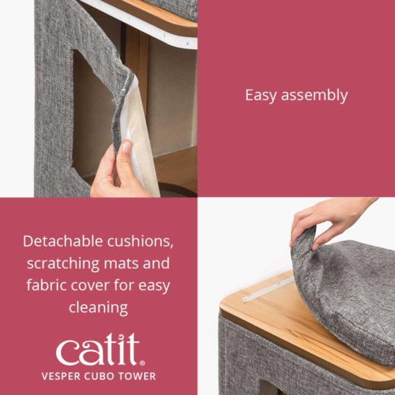 Catit Vesper Cubo Tower is easy to assemble and had detachable cushions, scratching mats and fabric cover for easy cleaning