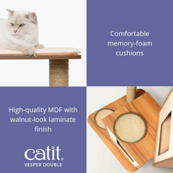 Catit Vesper Double has comfortable memory-foam cushions with high-quality MDF walnut-look laminate finish