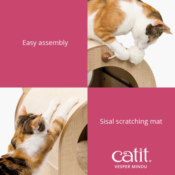 Catit Vesper Minou is easy to assemble and has a sisal scratching mat