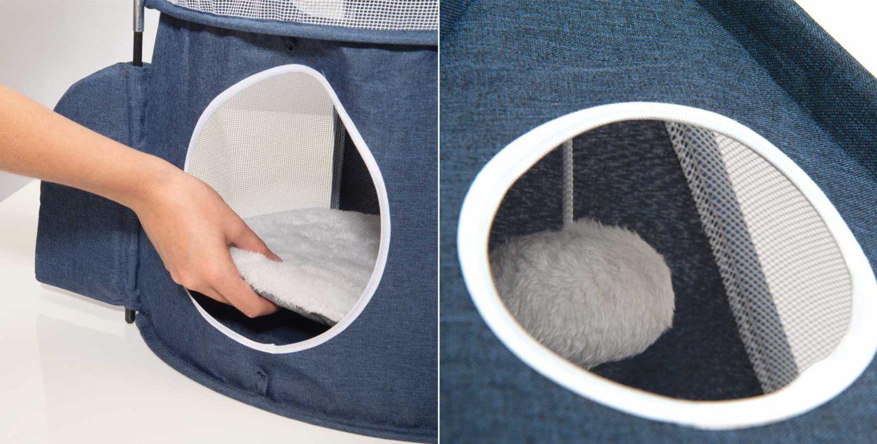 La tour Rocket Vesper Catit comprend un coussin confortable où votre félin pourra faire une sieste bien méritée après l'heure du jeu. La tour est également munie d'une balle en peluche suspendue à une corde afin que votre chat puisse s'amuser à la taper.