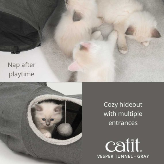 Catit Vesper Tunnel is perfect for a nap after playtime and is a cozy hideout with multiple entrances