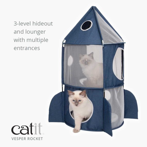 Catit Vesper Rocket is a 3-level hideout and lounger with multiple entrances