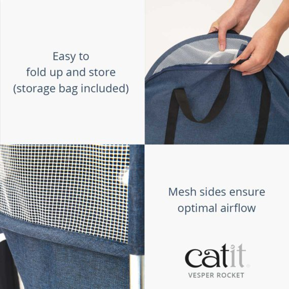 Catit Vesper Rocket is easy to fold up and store (storage bag included) and has mesh sides for optimal airflow
