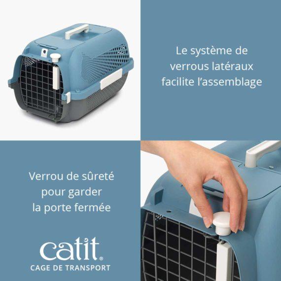 Cage de transport Catit - Le système de verrous latéraux facilite l'assemblage et Verrou de sûreté pour garder la porte fermée