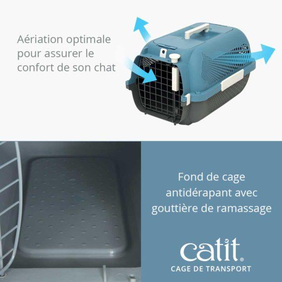 Cage de transport Catit - Aériation optimale pour assurer le confort de son chat et fond de cage antidérapant avec gouttière de ramassage