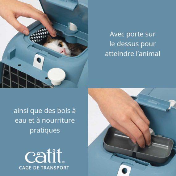 Cage de transport Catit - Avec porte sur le dessus pour atteindre l'animal ainsi que des bols à eau et à nourriture pratiques