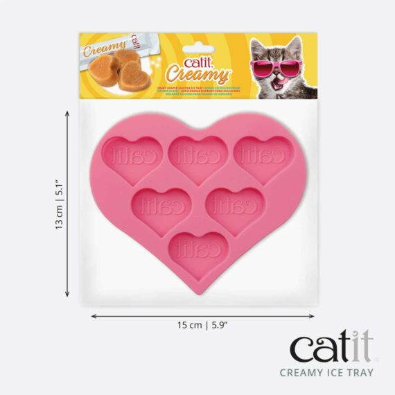 Silicone heart-shaped Creamy ice tray - product packaging & dimensions