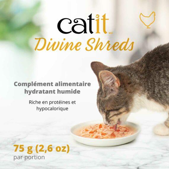 Catit Divine Shreds - Complément alimentaire hydratant humide - Riche en protéines et hypocalorique
