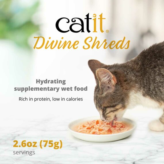 Catit Divine Shreds multipack - Hydrating, supplementary wet food - rich in protein, low in calories