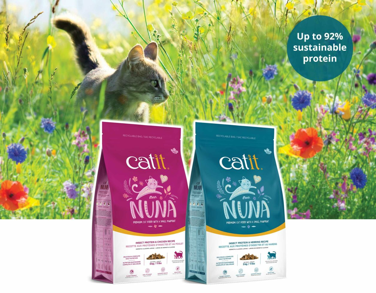Catit Nuna introduction image - up to 92% sustainable protein