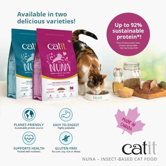 Catit Nuna - Up to 92% sustainable protein - available in two delicious varieties - Planet-friendly, easy to digest, supports health, gluten-free