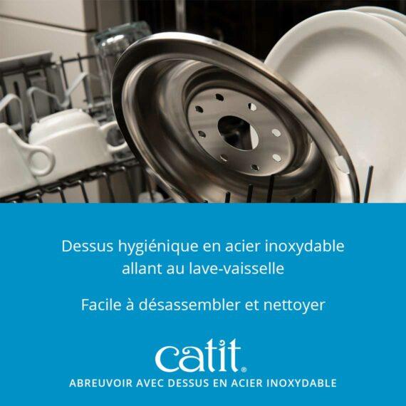 43725 - Abreuvoir avec fleur et dessus en acier inoxydable - dessus hygiénique en acier inoxydable allant au lave-vaisselle