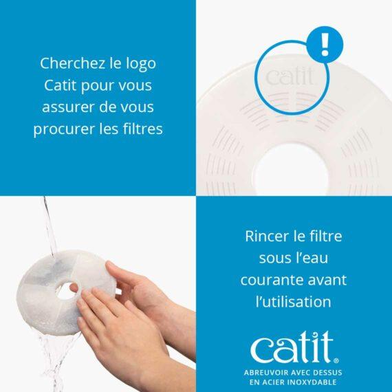 43725 - Abreuvoir avec fleur et dessus en acier inoxydable - Cherchez le logo Catit pour vous assurer de vous procurer les filtres