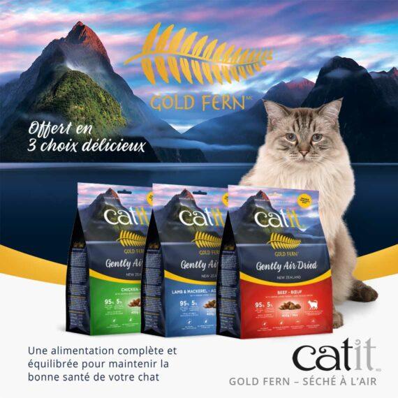 Catit Gold Fern - Offert en 3 choix délicieux. Une alimentation complète et équilibrée pour maintenir la bone santé de votre chat
