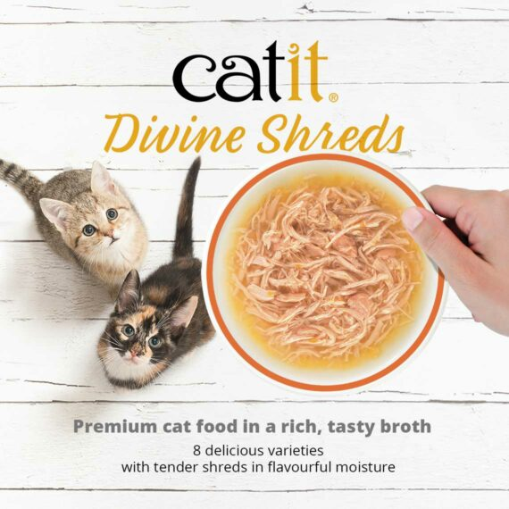 Catit Divine Shreds Multipacks - Premium cat food in a rich, tasty broth. 8 delicious varieties with tender shreds in flavourful moisture