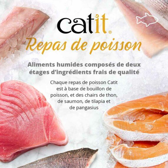 Repas de poisson Catit - Aliments humides composées de deux étages d'ingrédients frais de qualité