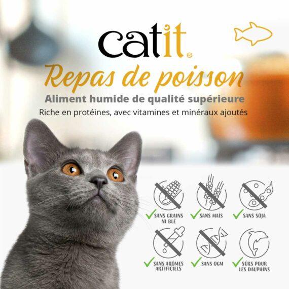 Repas de poisson Catit - Riche en protéines, avec vitamines et minéraux ajoutés